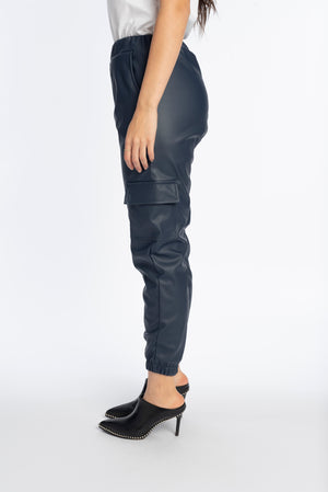Leather joggers in navy