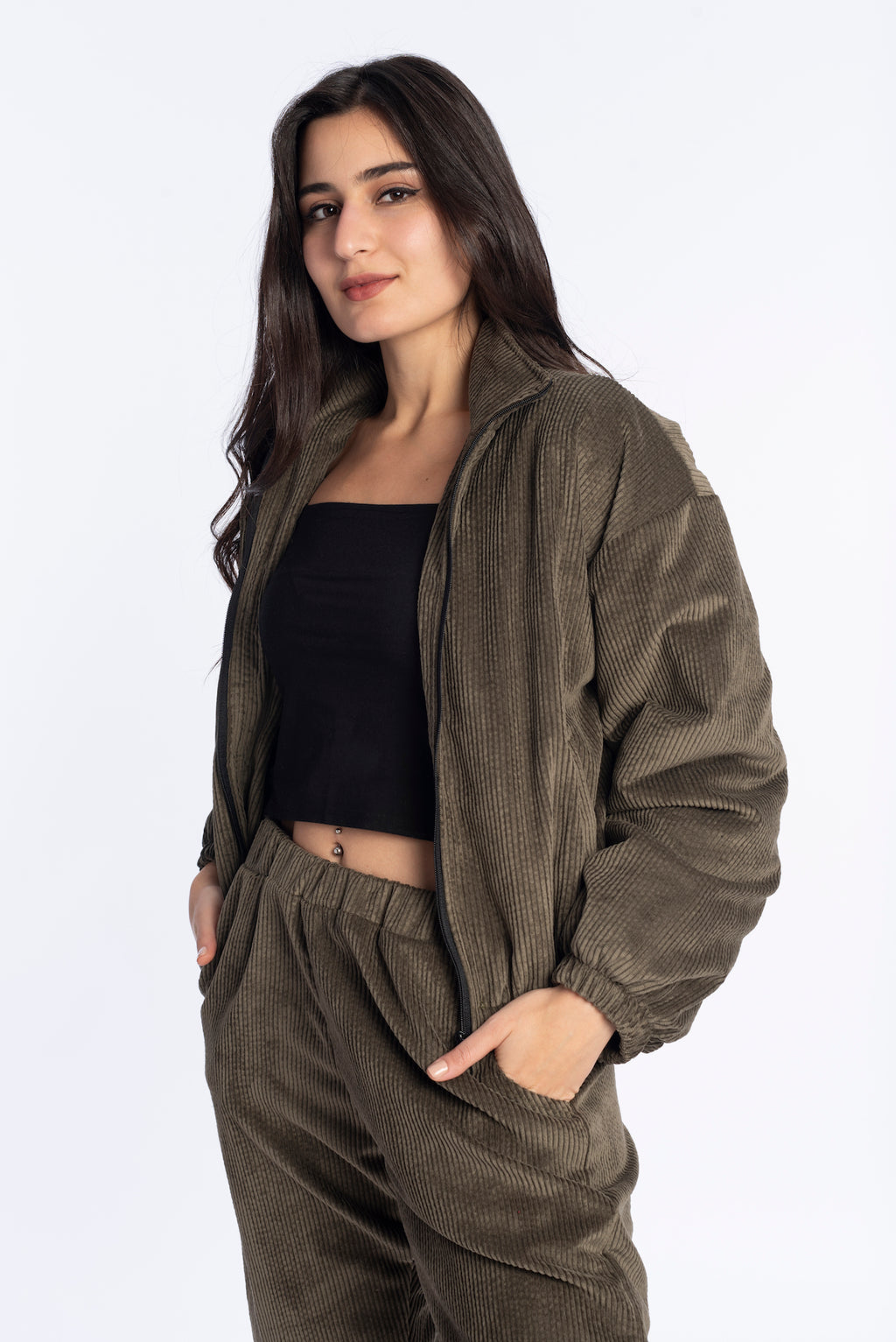 Velvet Bomber Jacket in Olive