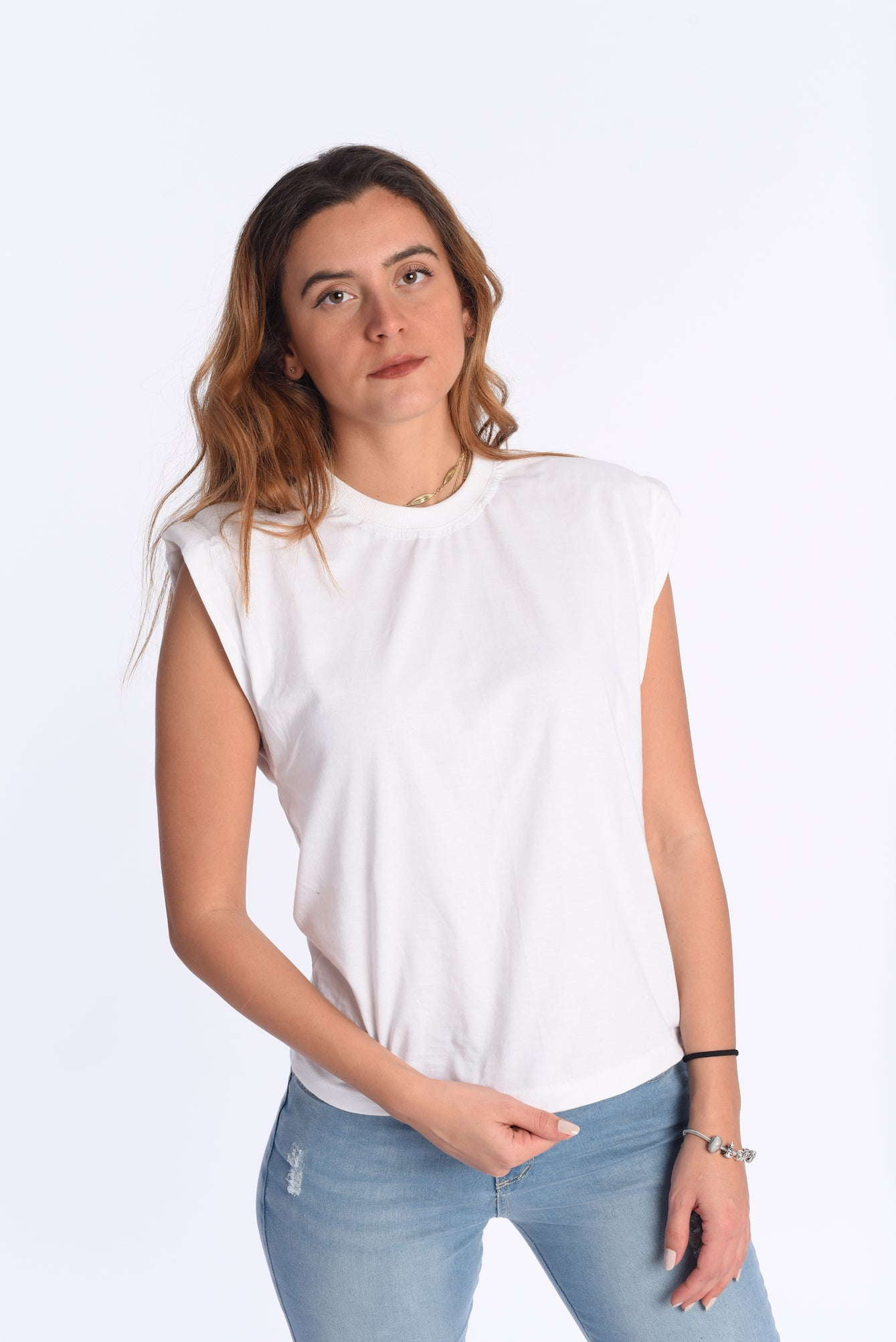 Pad t-shirt in white