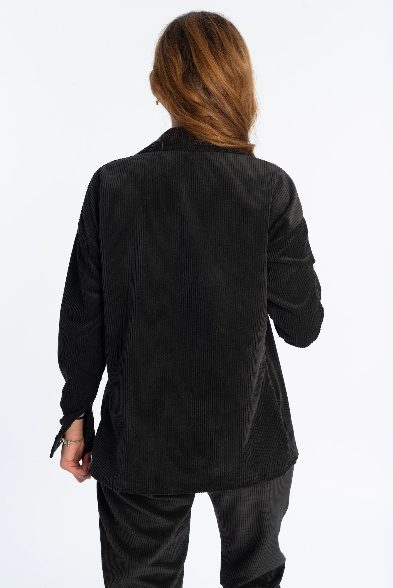 Velvet shirt in black