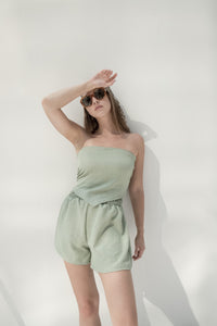 Apple green linen hot shorts