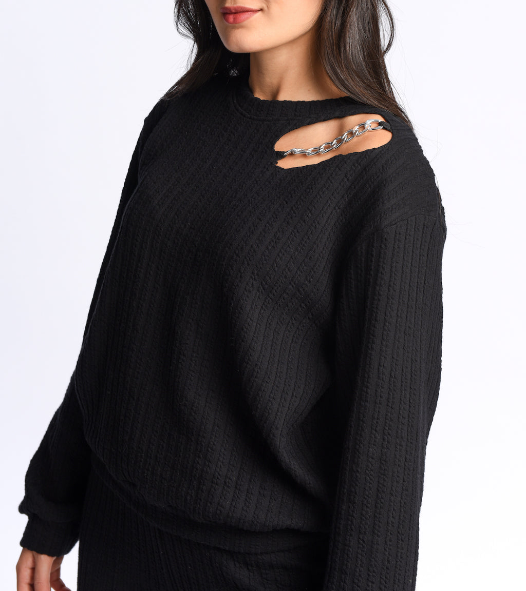 Braided sweatshirt in black