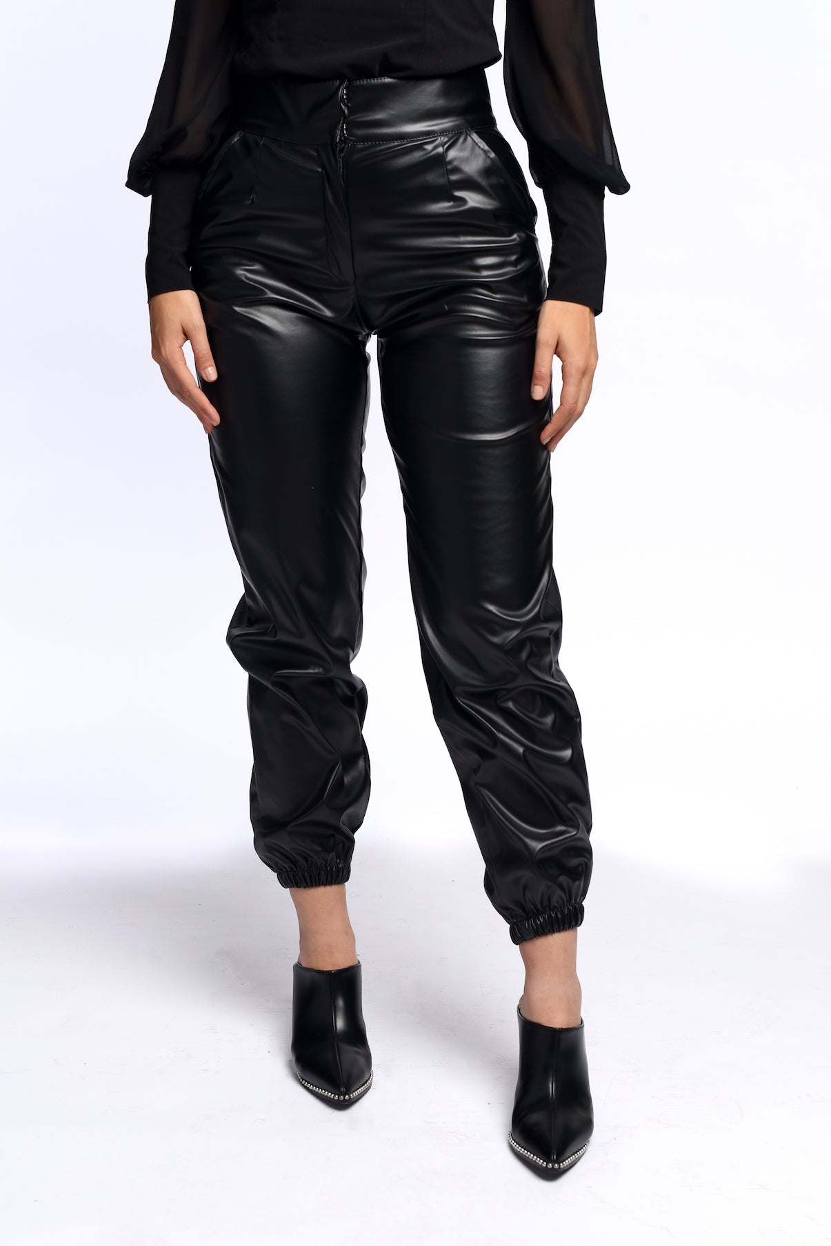 Cuffed leather pants