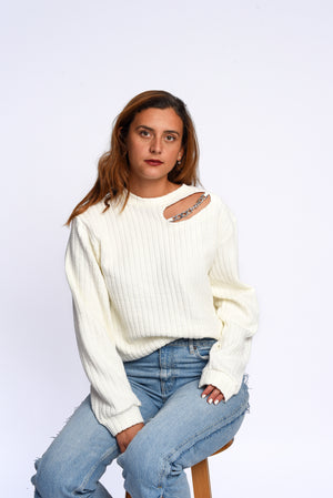 Braided sweatshirt in white