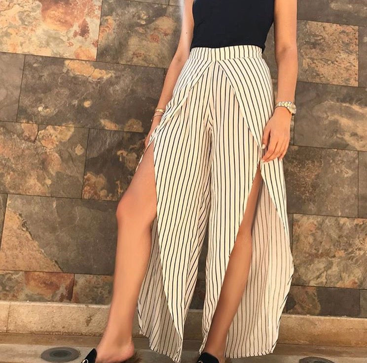 Sunny side up beach pants in white stripes