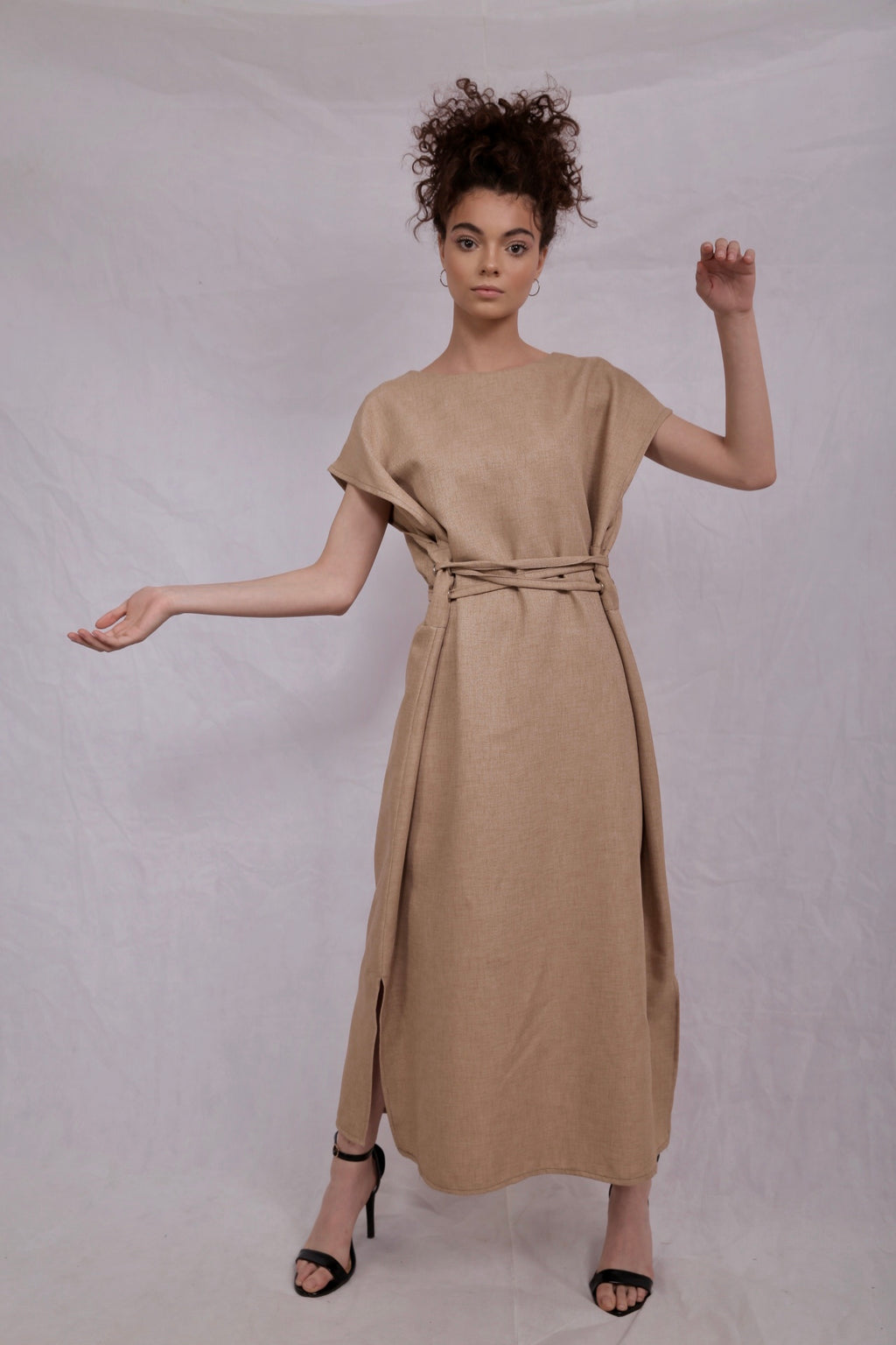 Dark beige linen dress