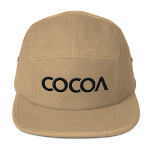 COCOACURE Five Panel Cap - Black 3D Embroidered COCOA on front