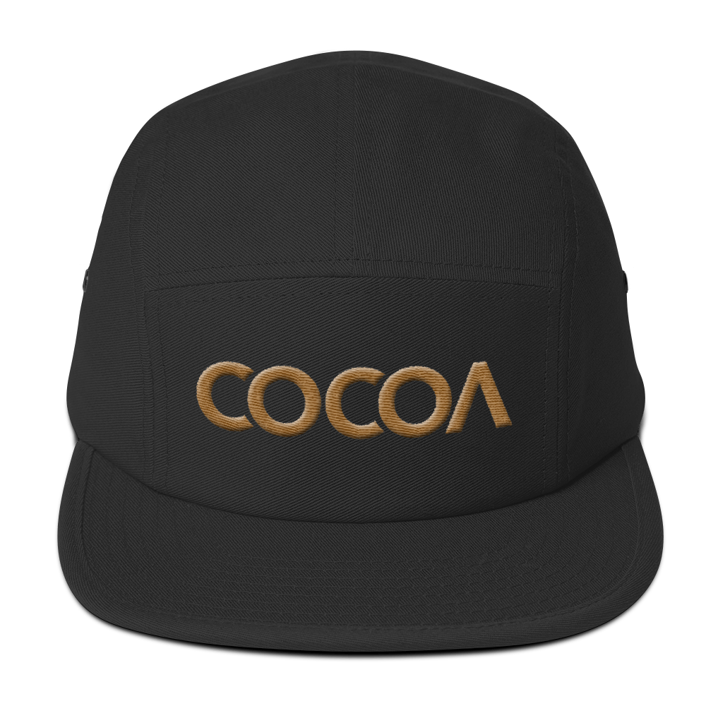 COCOACURE Five Panel Cap - Old Gold 3D Embroidered COCOA on front