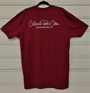 T-Shirt X Large Burgundy California Speed and Custom, Huntington Beach CA