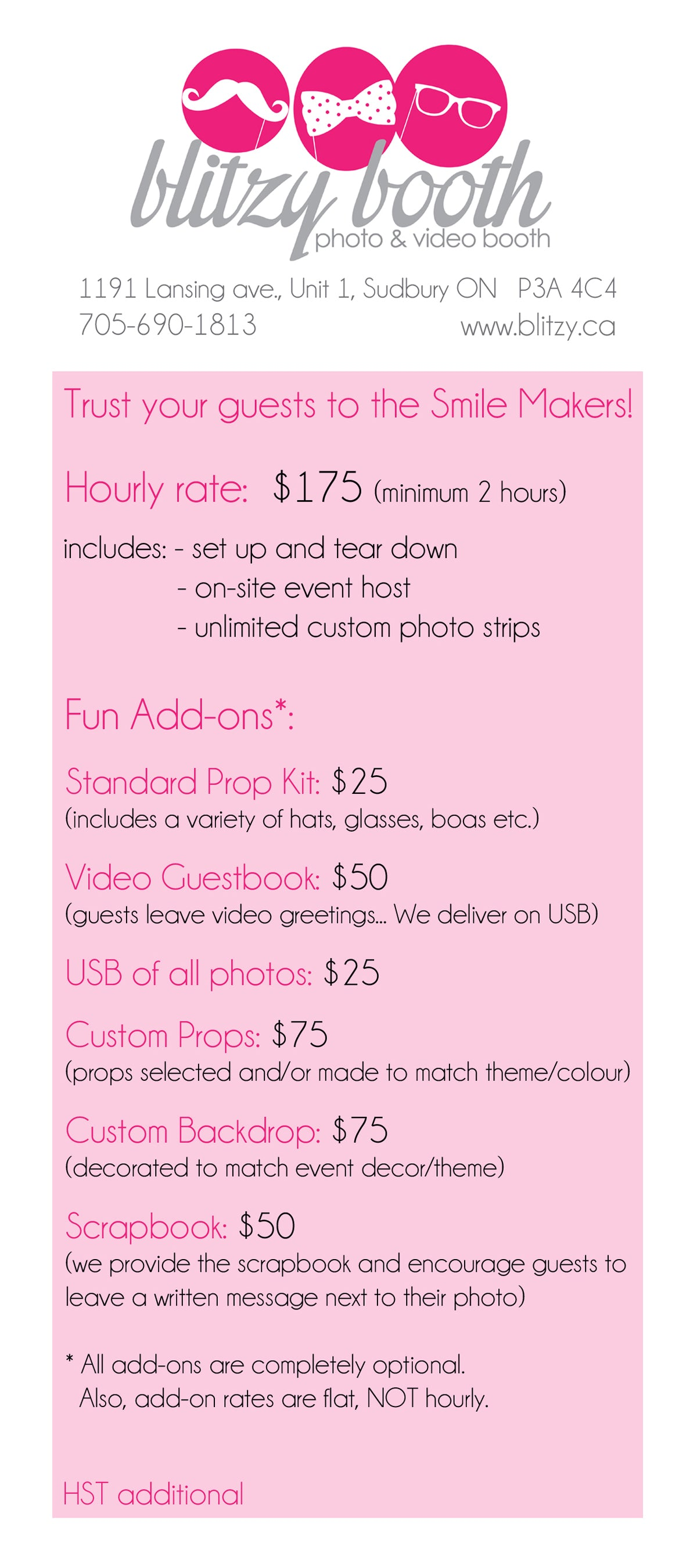 Blitzy Photo Booth Price List