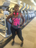 Ladies GYMSANE racerbacks by LFTHVY™ - GREY N PINK