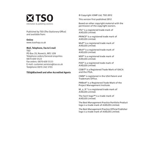 TSO eBook: An Introductory Overview of ITIL 2011 (PDF) [Copyright]