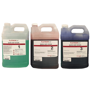 PlatinumLine® Quik Dip® Green, Red & Blue Hemotology Stain Set (1 gal each)
