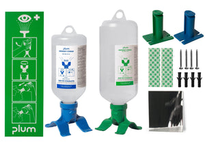 A sample of the Single Bottle Wall Mount Kit.   Example of the 500ml (Blue) Bottle and the 1000ml (Green Bottle)