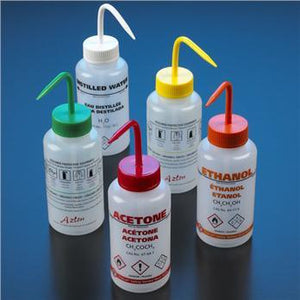 GHS Compliant, Multi-Lingual Wash Bottles for the Laboratory