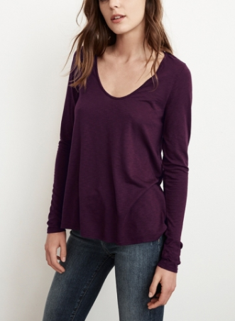 Velvet by Graham & Spencer Nadia Lux Slub Scoop Neck Tee Longsleeve