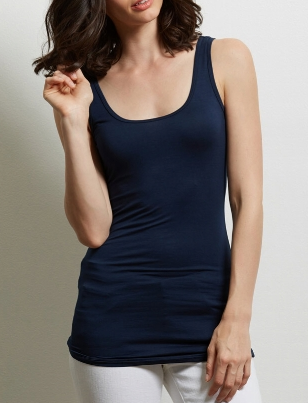Three Dots Long Fitted Tank Refined Jersey