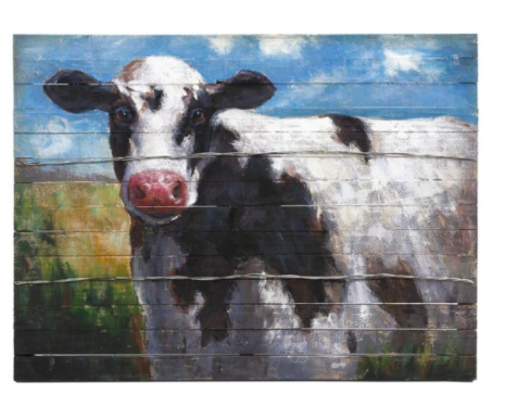 Imax Home Ella Elaine Lester Cow Oil Painting