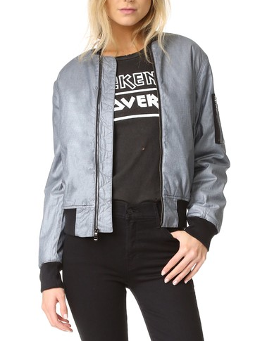 Hudson Gene Metallic Puffy Bomber Jacket