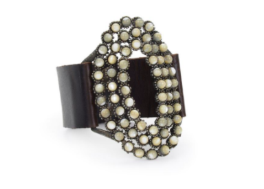 Rebel Mother of Pearl Vintage Brown Leather Cuff Bracelet