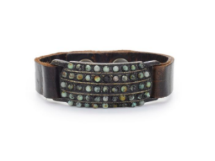 Rebel 5 Row Beaded  Leather Cuff Bracelet