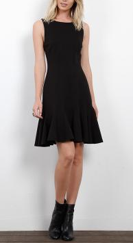 Ponte Fit and Flare Seamed Dress