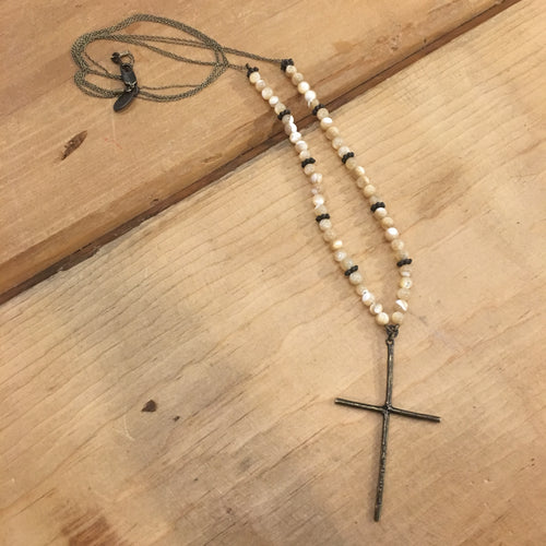 Rebel Beaded Mother of Pearl Necklace with Cross