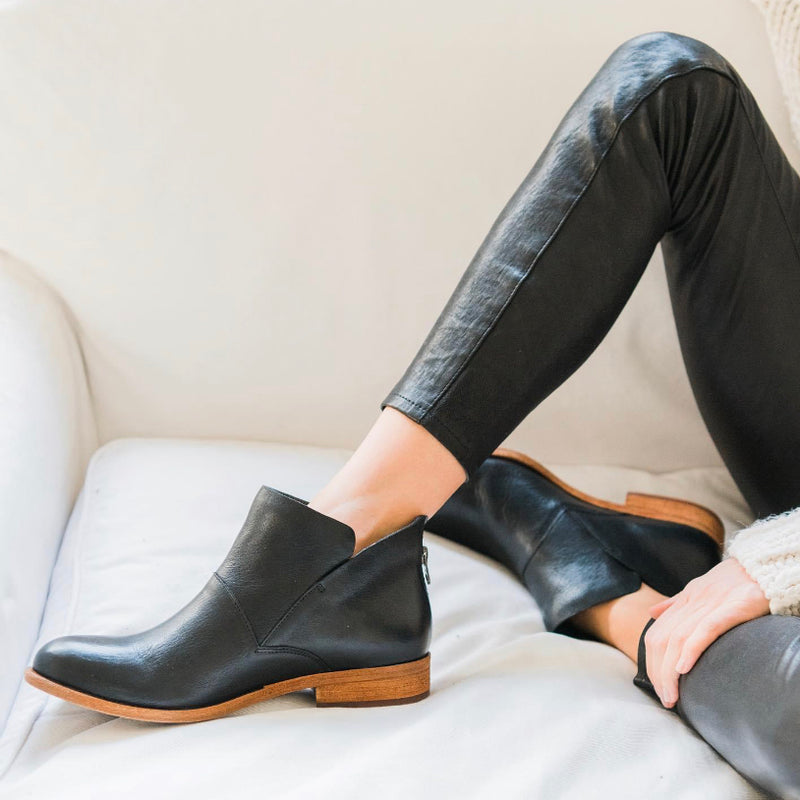 Ryder Black Leather Bootie