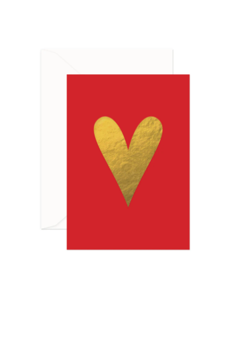 Gold-Red Heart Small Card