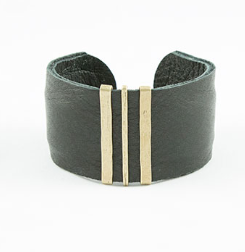 Black/Bronze Leather Cuff