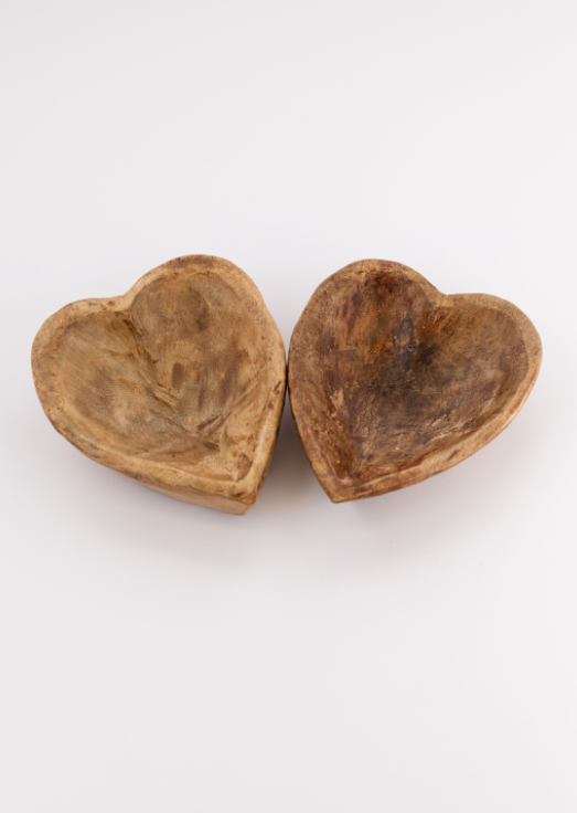 Heart Shaped Wood Bowl