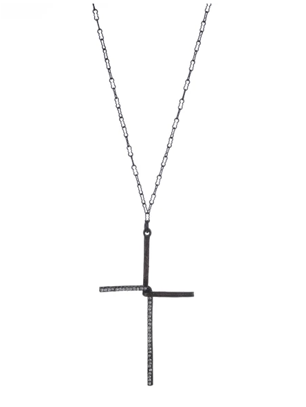 Black-Diamond Interlock Cross Necklace