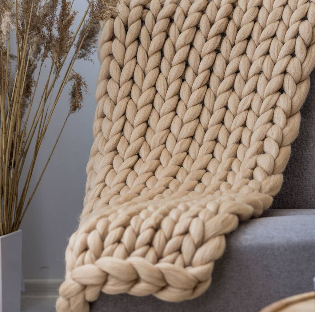 Chunky Knit Throw Blanket - Beige