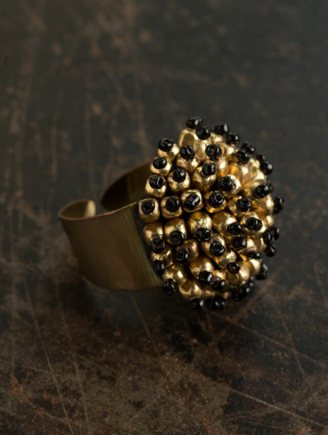 Black-Gold Statement Ring