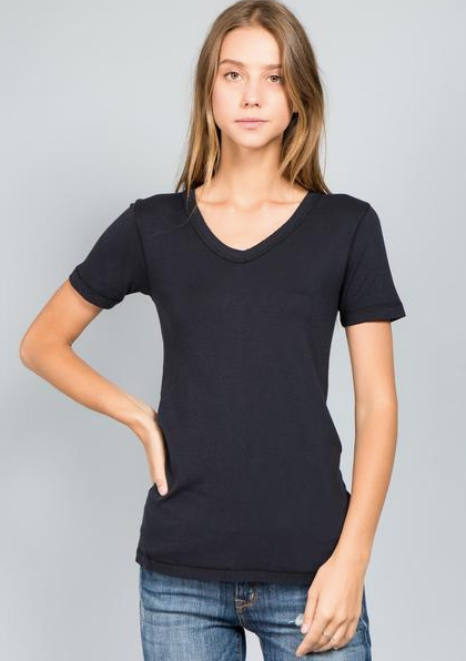 LUX S/S V-Neck - Black