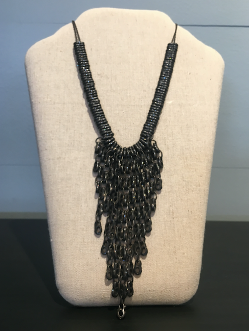 Rebel Black Diamond Chain Statement Necklace