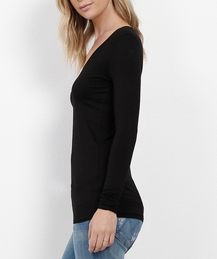 Three Dots Viscose L/S Deep Vneck