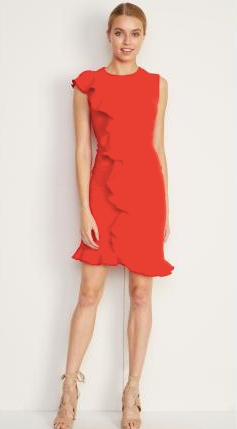Papaya Ruffle Front Dress