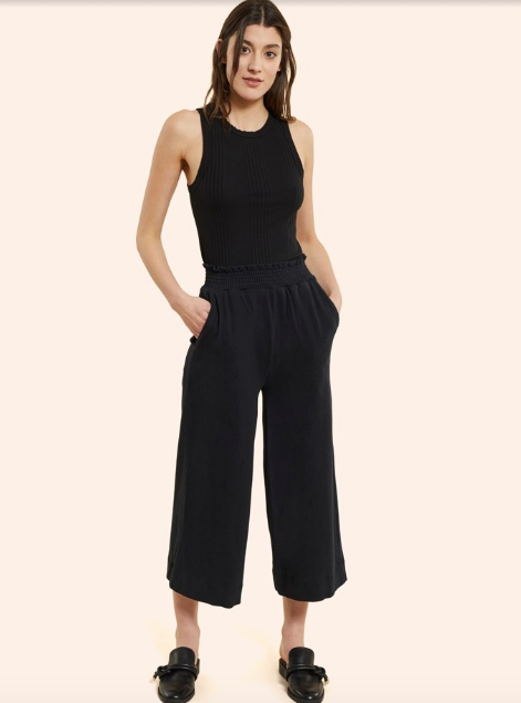 Kinly Combed Cotton Smocked Waist Crop Pant