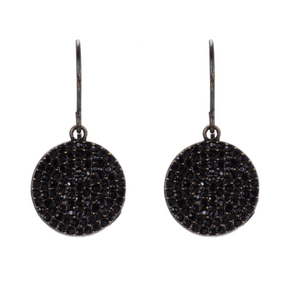 Rebel Designs Mini Encrusted Disc Drop Earrings