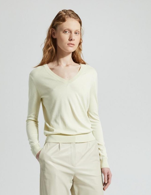 Silk V-Neck Sweater