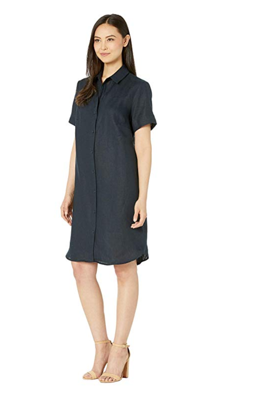 Three Dots Classic Linen Shirt Dress