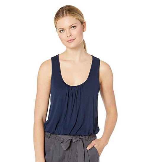 Three Dots Refined Jersey Shirred Sleeveless Top