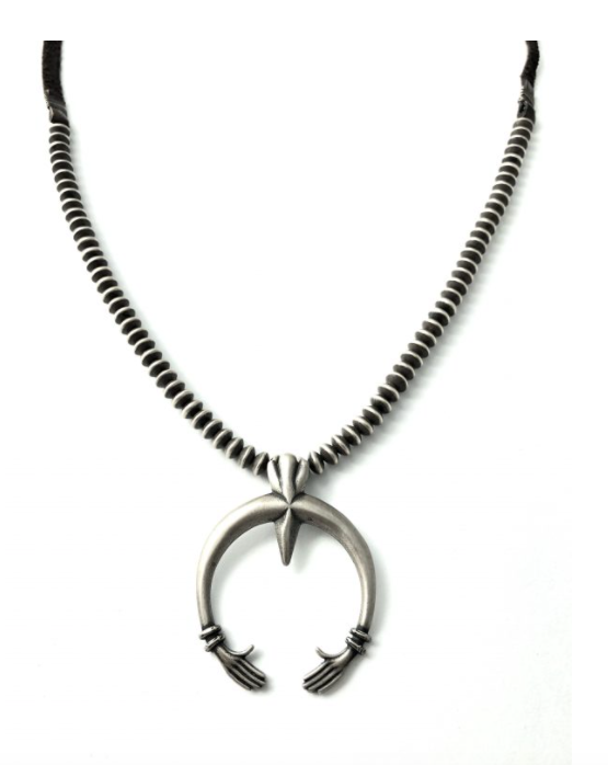 Silver Naja on Oxidized Bead and Leather Necklace