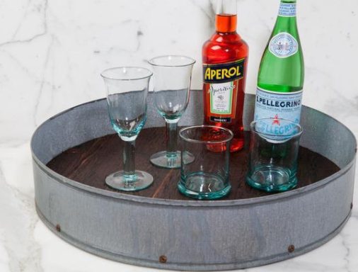 Large Bistro Serving Tray Galvanized and Reclaimed Wood