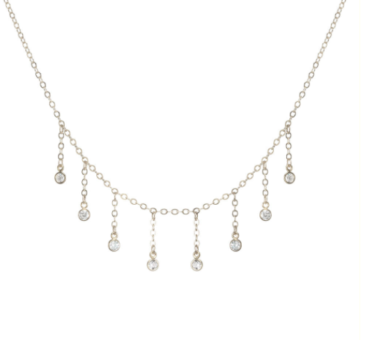 Dogeared 8 Dripping Crystal Necklace 16in