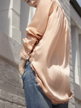 Skin Silk Jersey Button Down Raw Hem Blouse