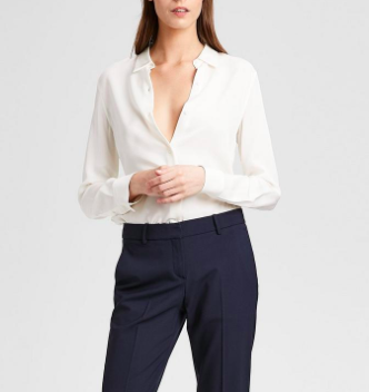 Theory Tenia Luxe Button Down Blouse