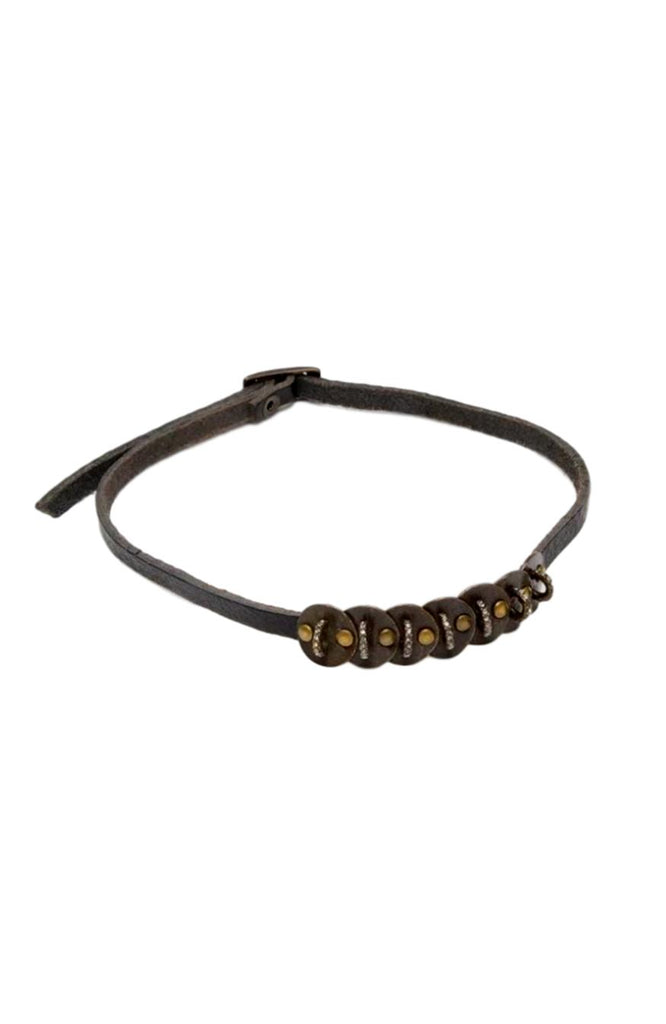 Rebel Vintage Leather Black Diamond Choker