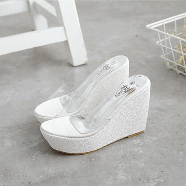 a7679b586 Transparent Platform Wedges Sandals Women Fashion High Heels – Wish ...